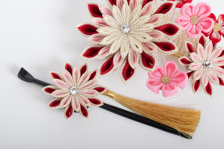 髪飾り_白赤_セット