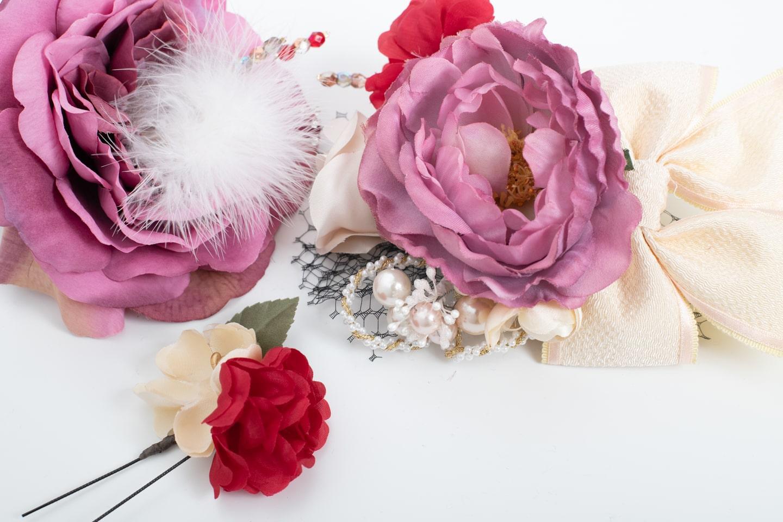 髪飾り_ピンク花