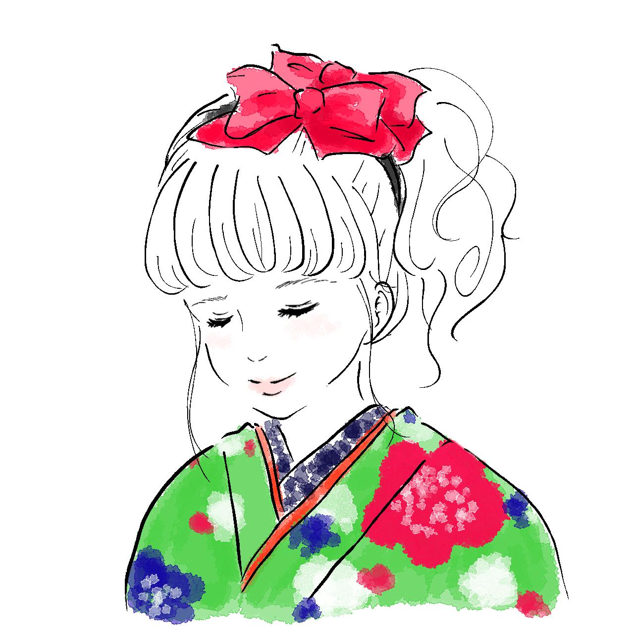 振袖イラスト_キュート